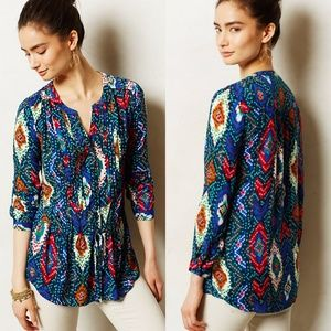 Anthropologie Maeve Ikat Topoxte Dropwaist Top